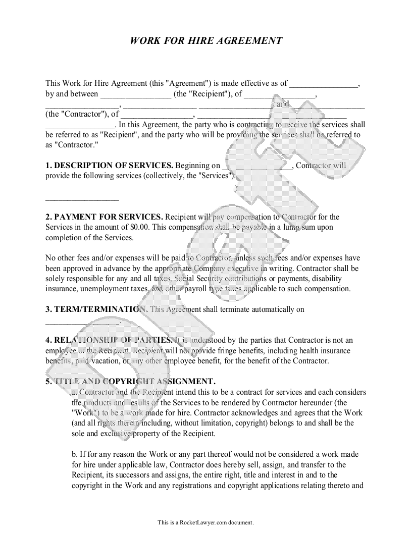 Sample Work for Hire Agreement Form Template