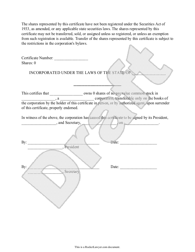 Sample Stock Certificate Form Template
