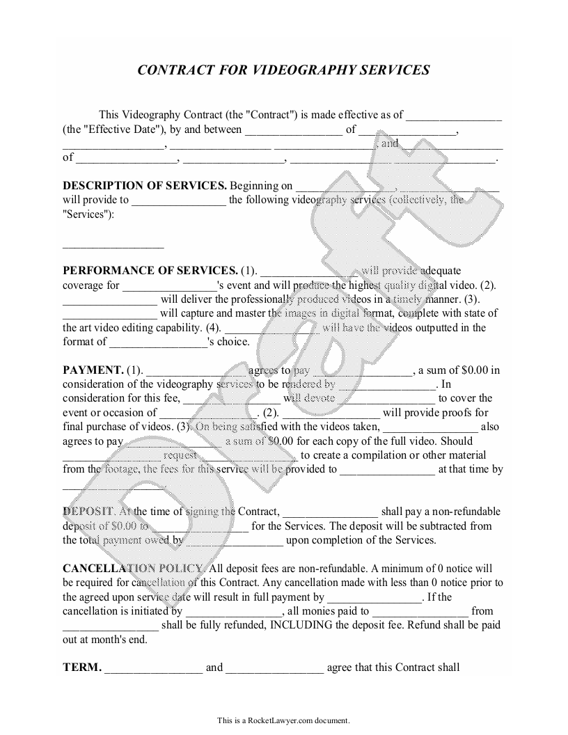 Sample Videography Contract