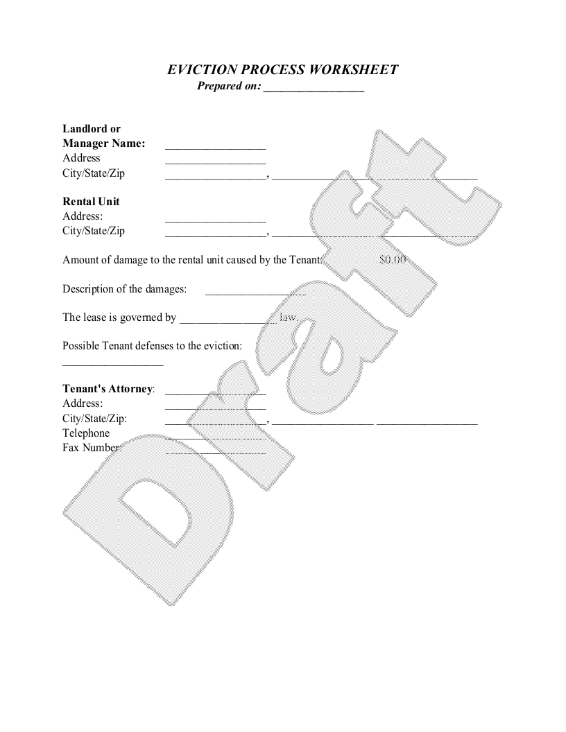 Sample Eviction Process Worksheet Form Template