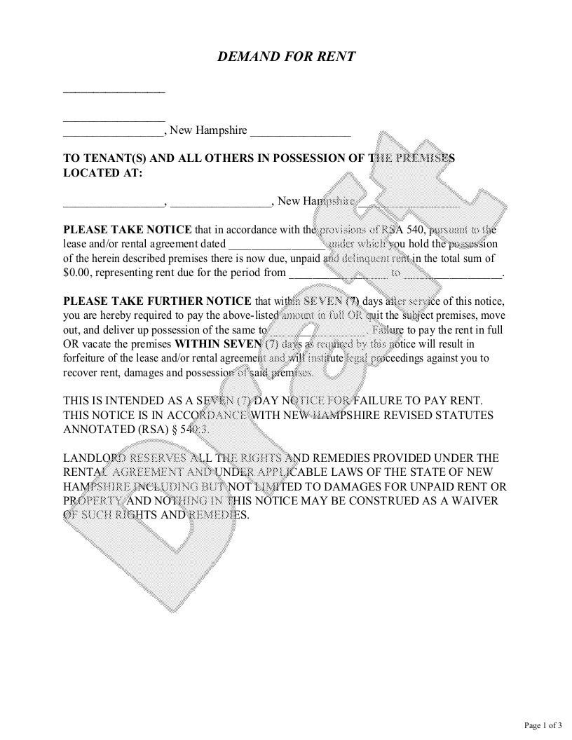 Sample New Hampshire Eviction Notice Form Template