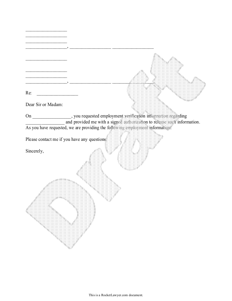 Sample Employment Verification Letter Form Template