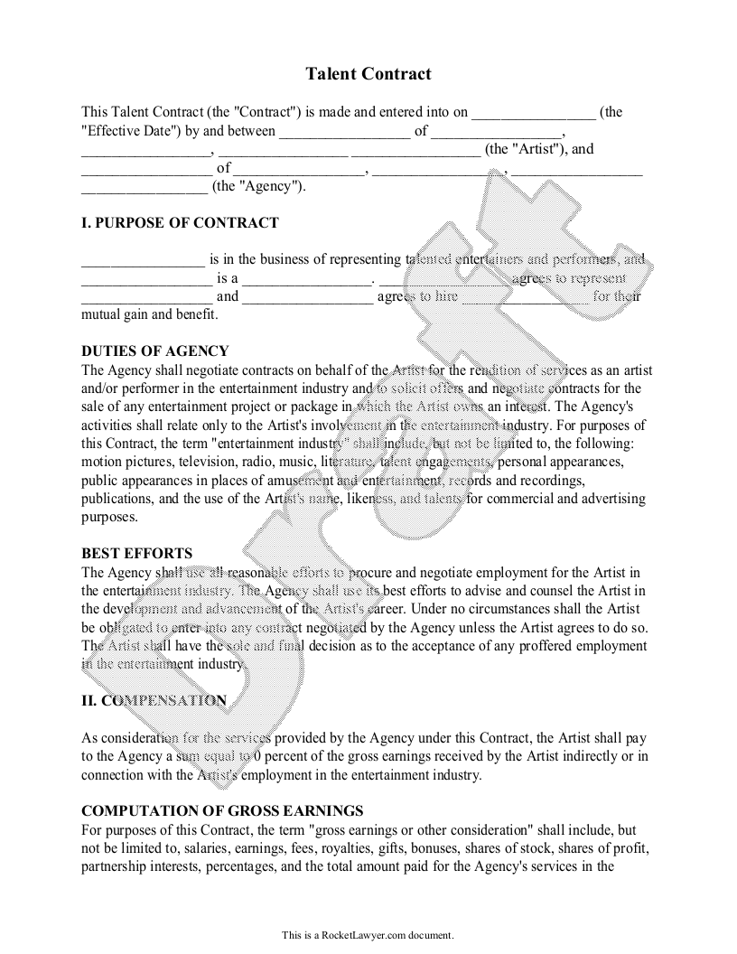Sample Talent Contract Form