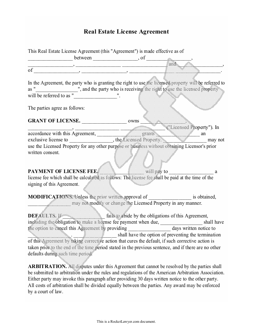 Sample Real Estate License Agreement Form Template