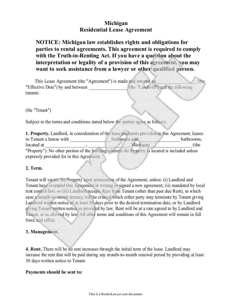 Sample Michigan Lease Agreement Form Template
