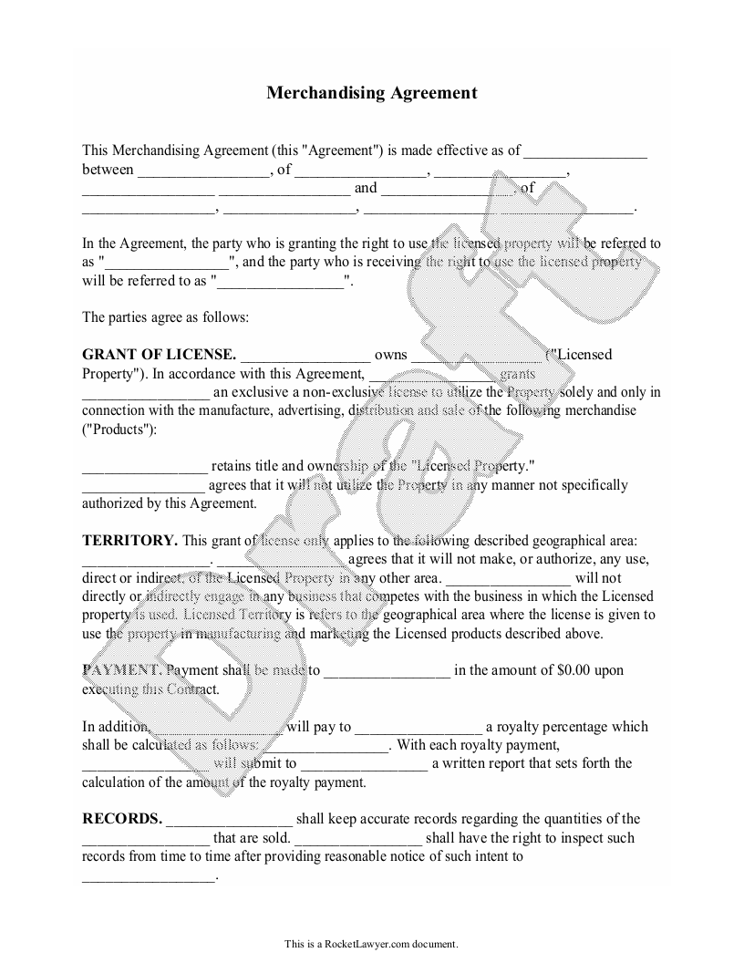 Sample Merchandising Agreement Form Template