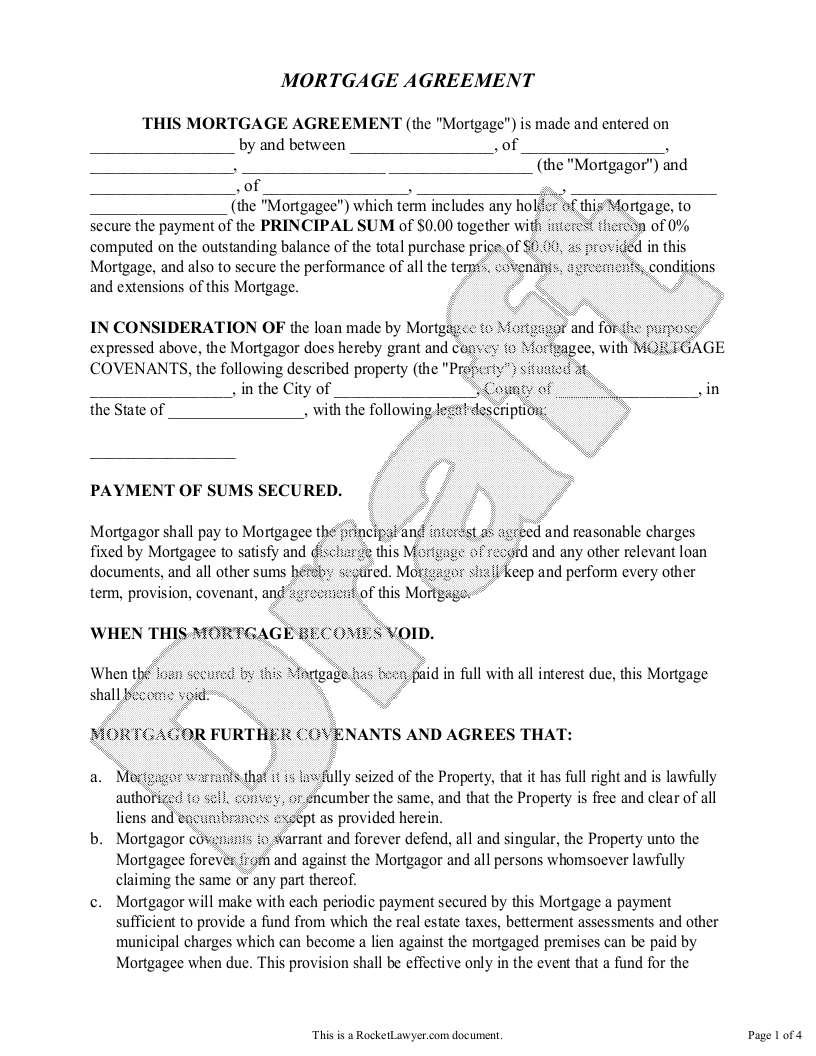 Sample Mortgage Agreement Form Template