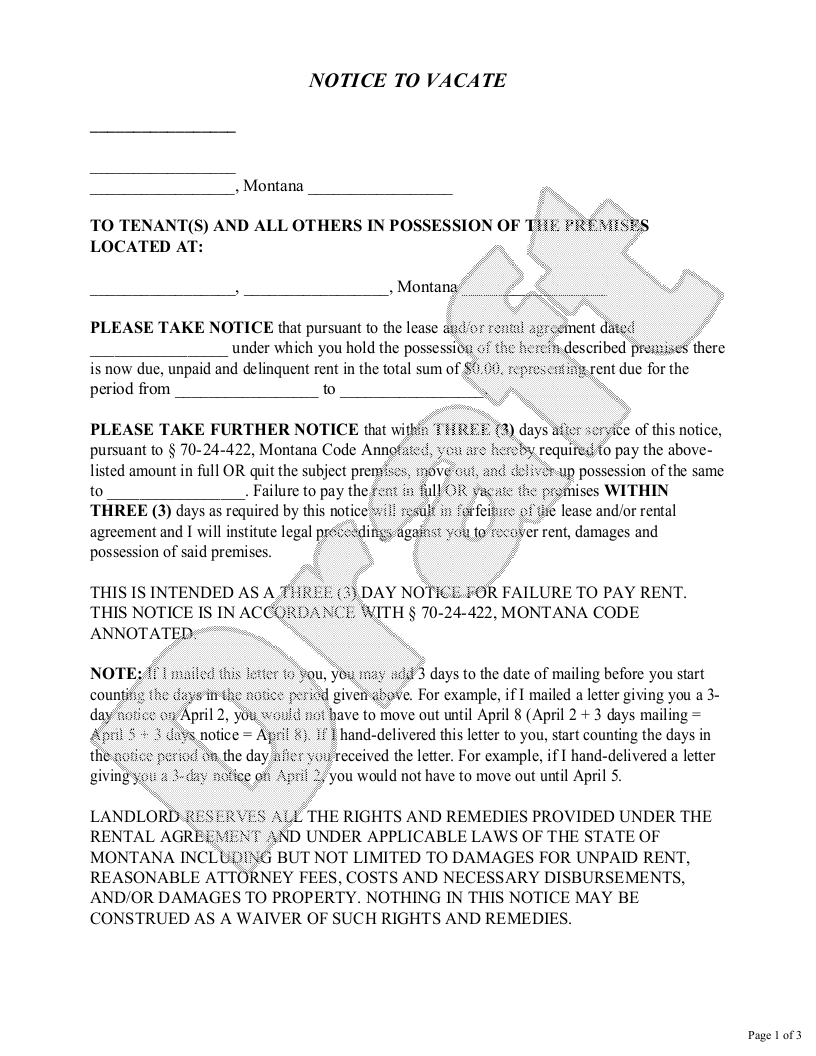 Sample Montana Eviction Notice Form Template