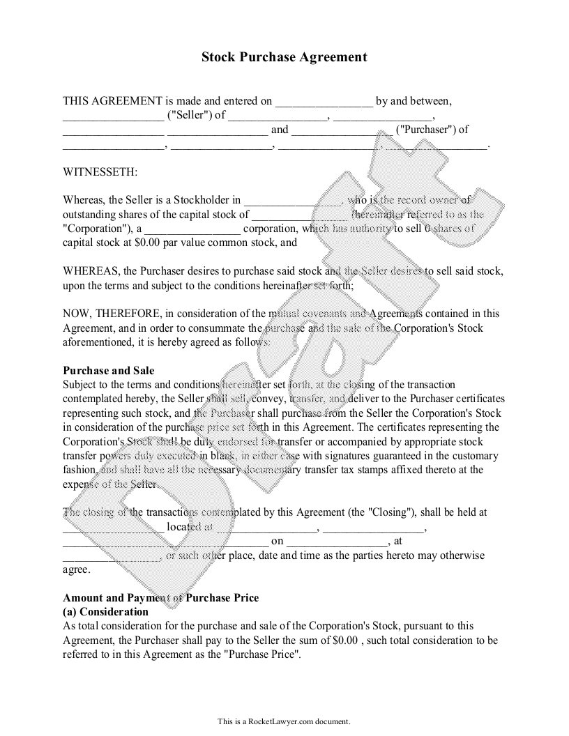 Sample Stock Purchase Agreement Form Template