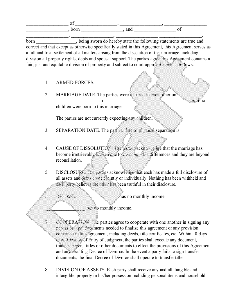 Sample Divorce Settlement Agreement Form Template