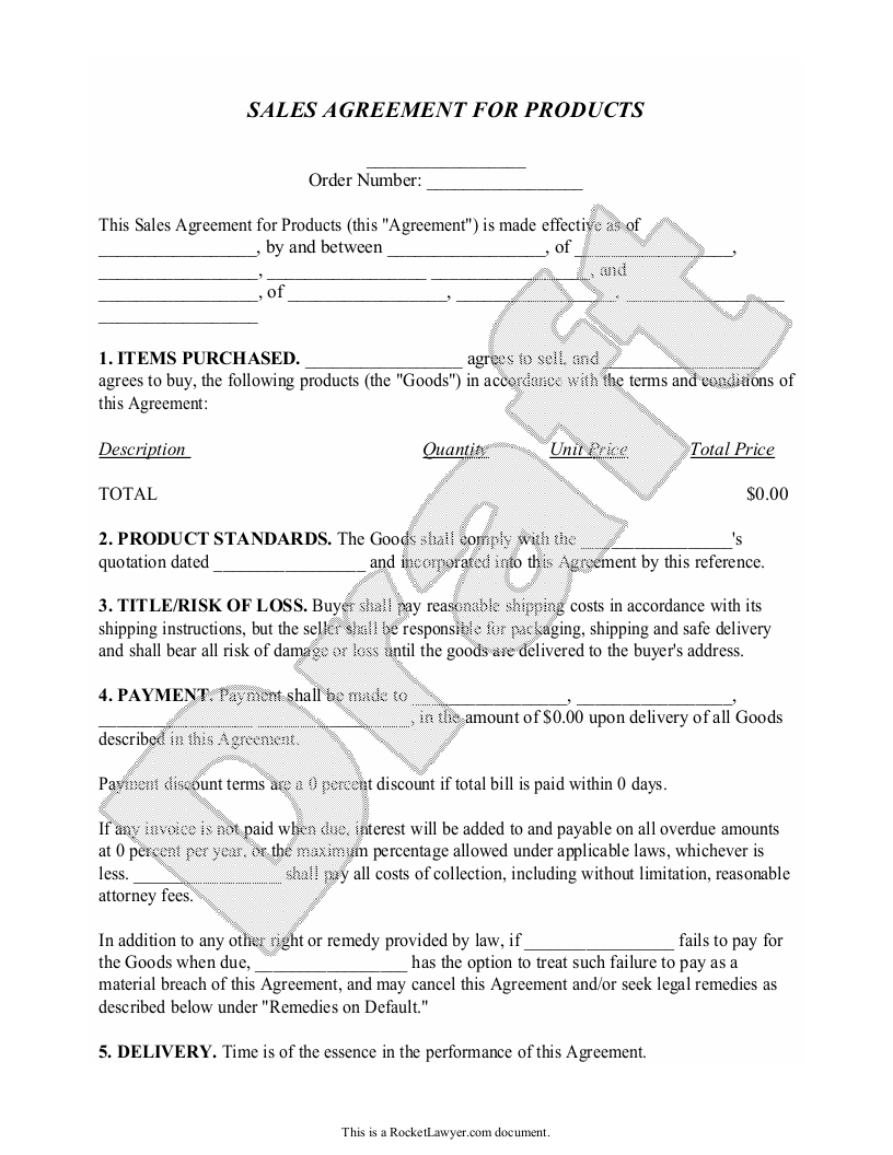 Sample Sales Contract Form Template