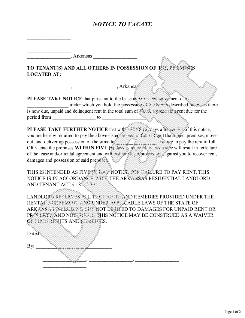 Sample Arkansas Eviction Notice Form Template