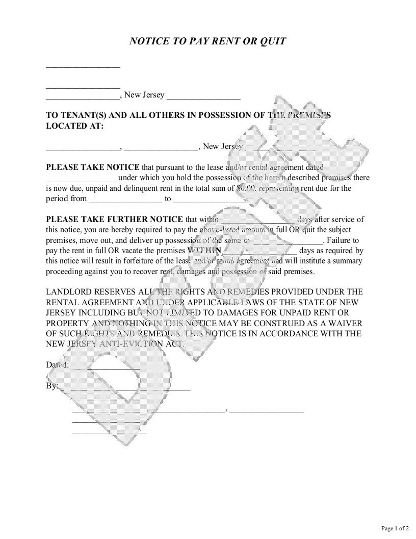 Sample New Jersey Eviction Notice Form Template