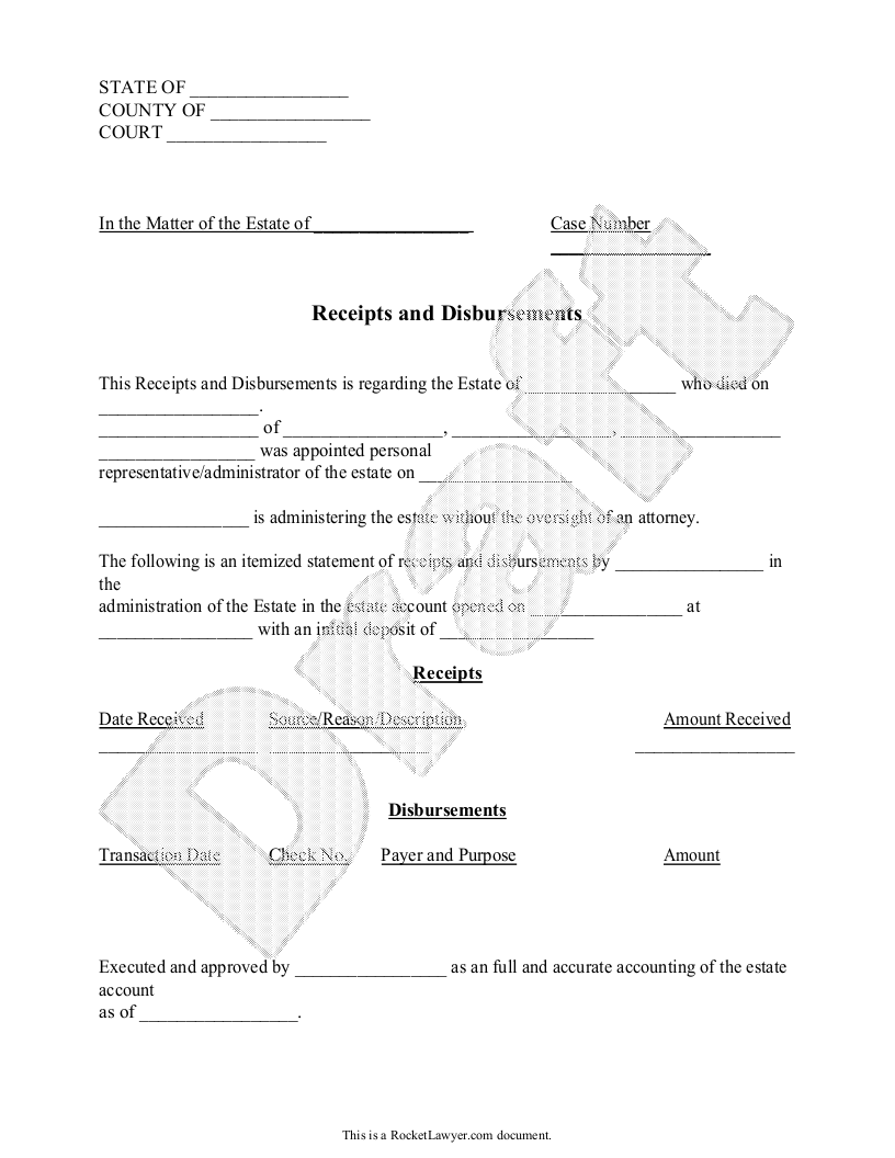 Sample Receipts and Disbursements Form Template