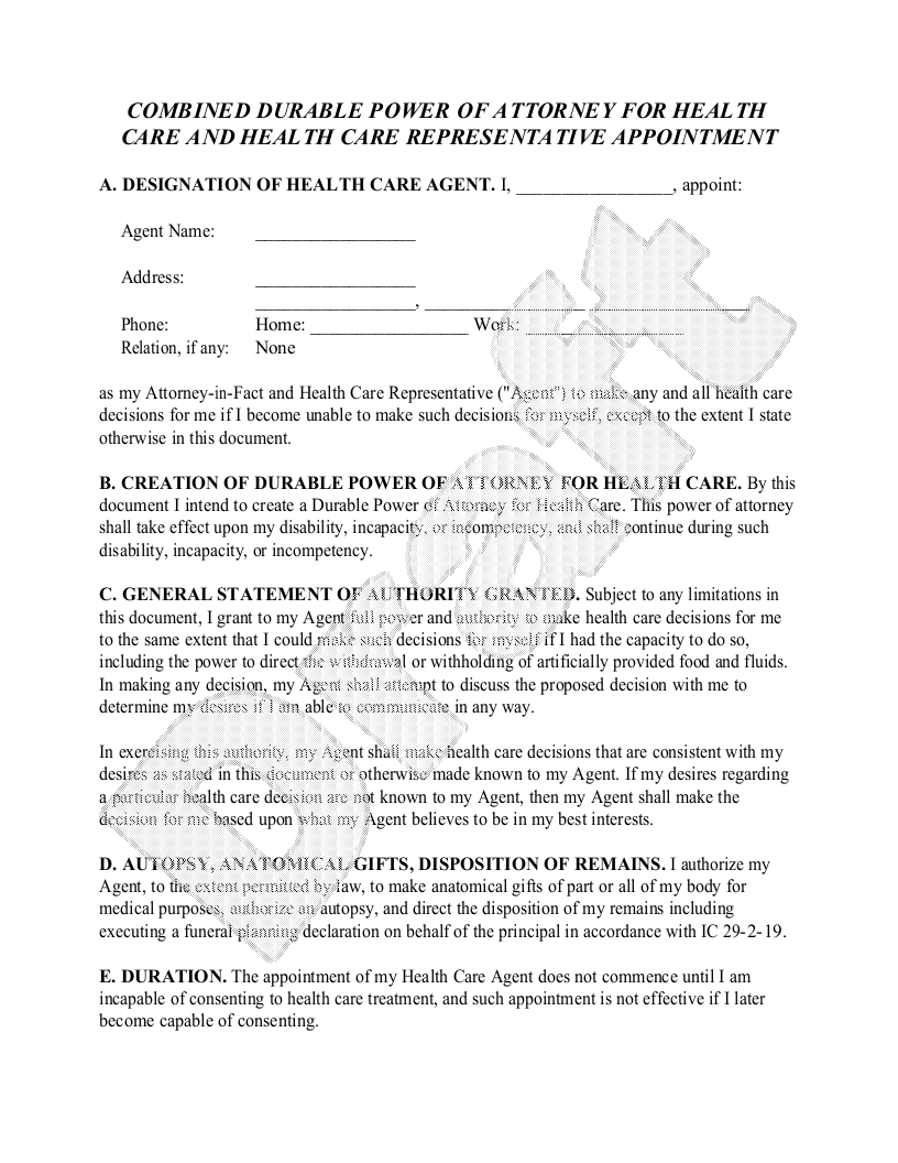 Sample Indiana Healthcare Power of Attorney Form Template