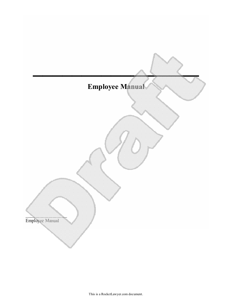 Sample Employee Manual Form Template