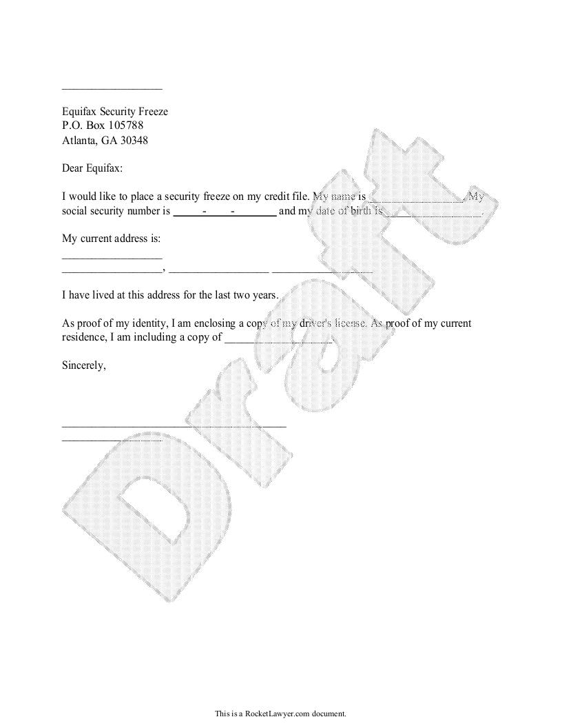 Sample Credit Freeze Request Form Template