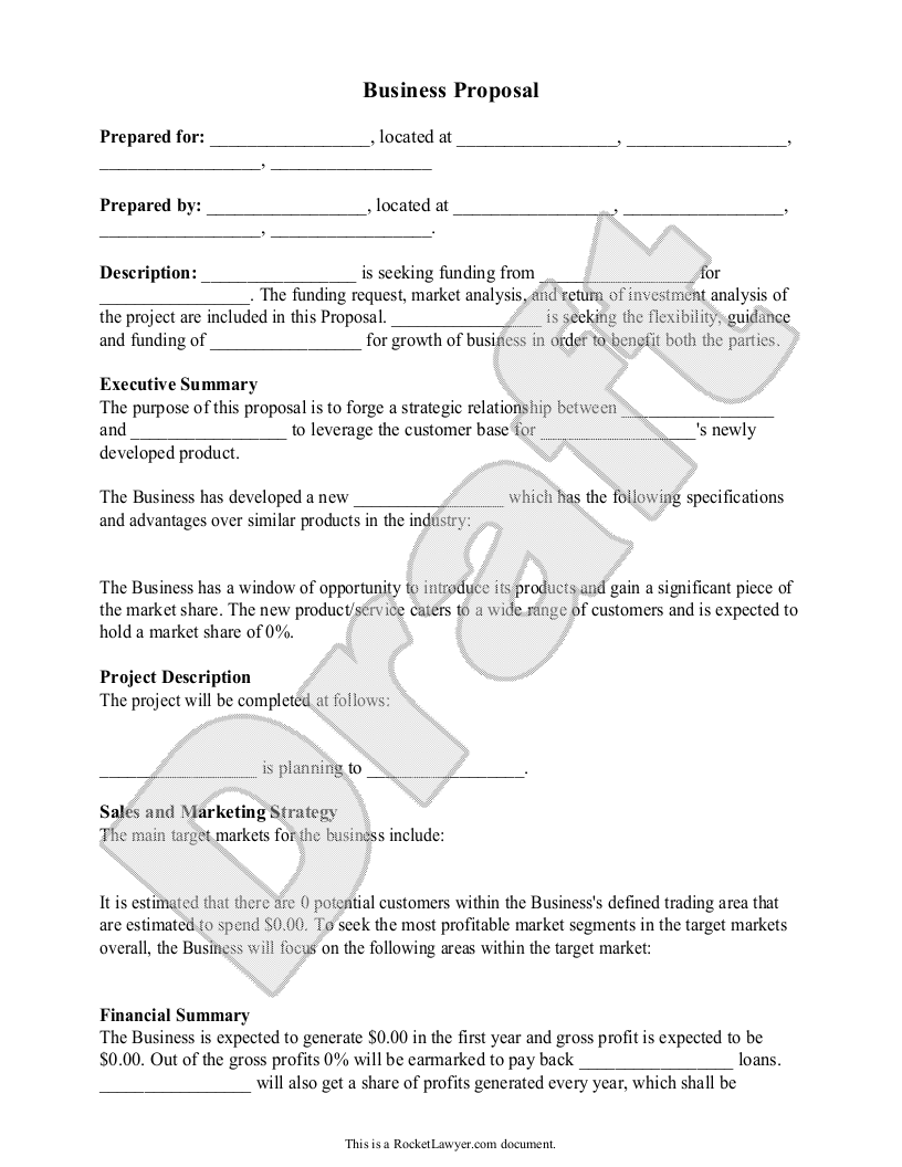 Sample Business Proposal Form