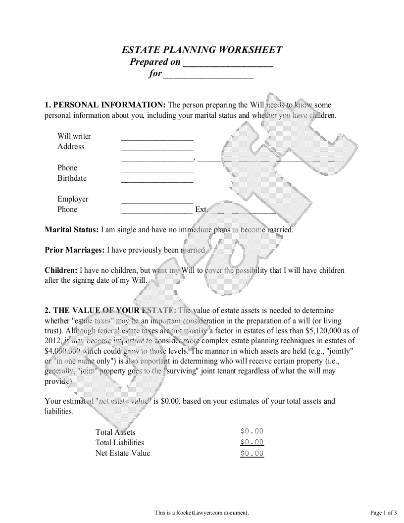 Sample Estate Planning Worksheet - Single Form Template