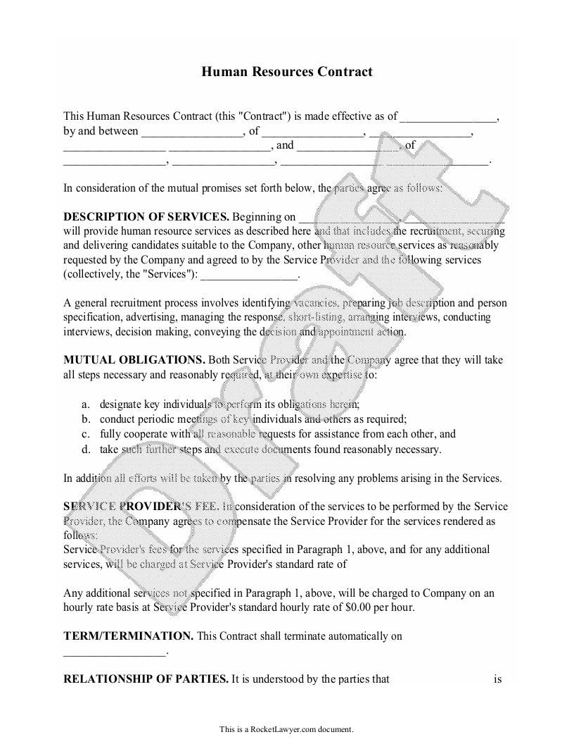 Sample Human Resources Contract Form Template