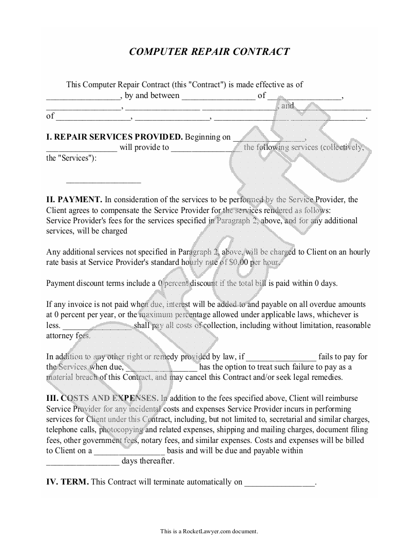 Sample Computer Repair Contract Form Template