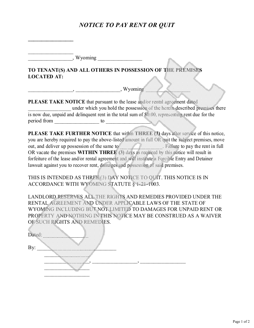 Sample Wyoming Eviction Notice Form Template