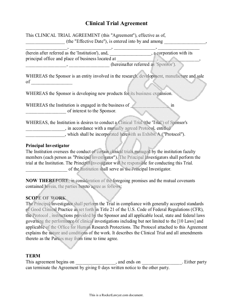 Sample Clinical Trial Agreement Form Template