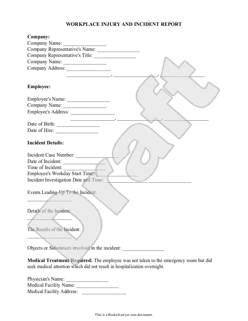 Sample Work Injury Report Form Template