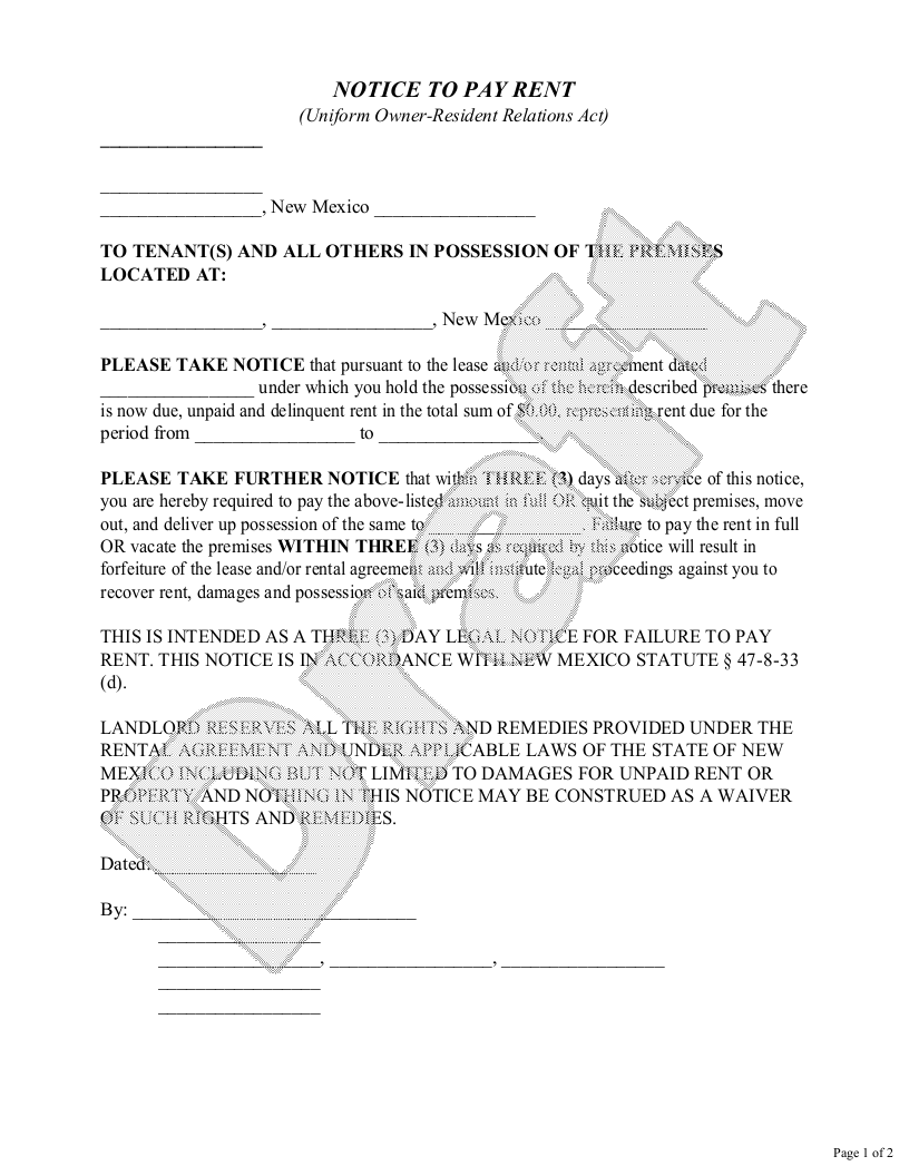 Sample New Mexico Eviction Notice Form Template