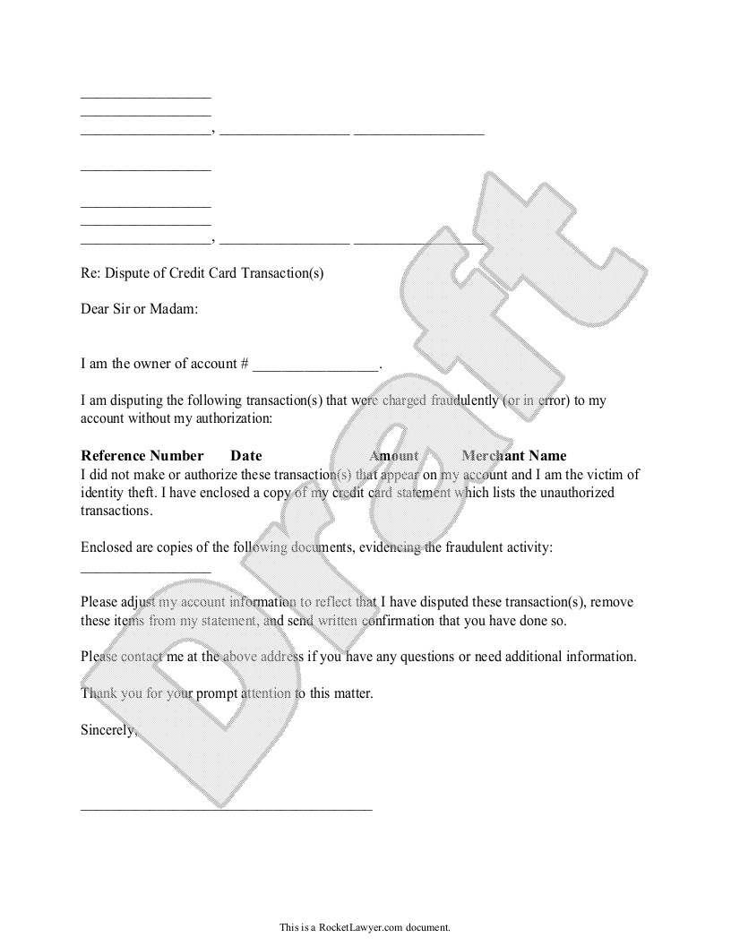 Sample Dispute Fraudulent Credit Card Transaction Form Template