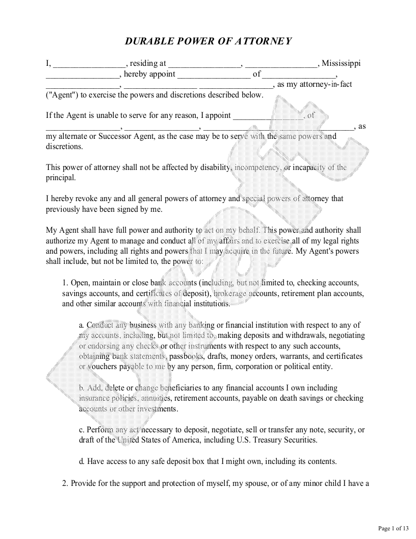 Sample Mississippi Power of Attorney Form Template