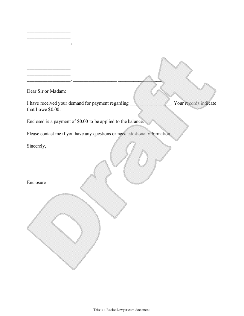 Sample Response to Payment Request Form Template