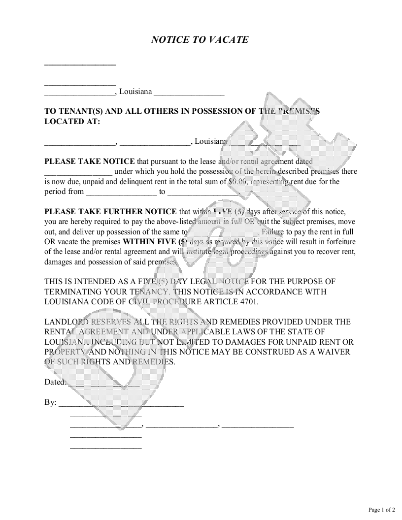 Sample Louisiana Eviction Notice Form Template