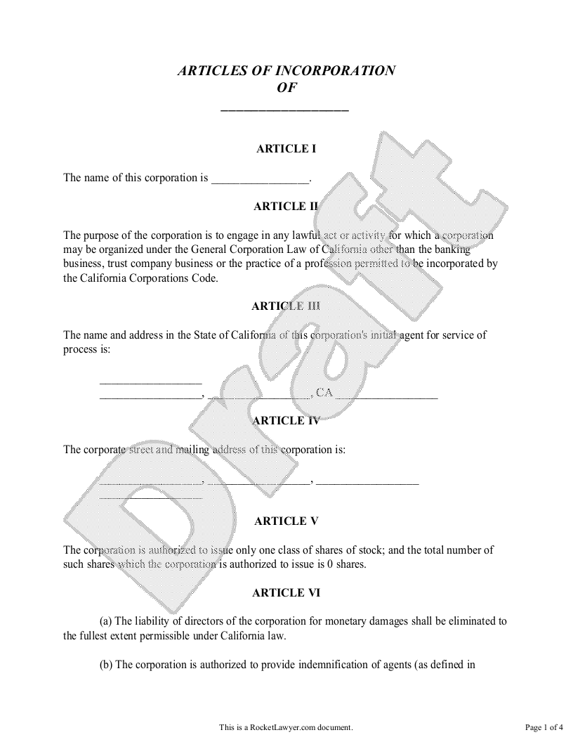 Sample Articles of Incorporation for California Form Template