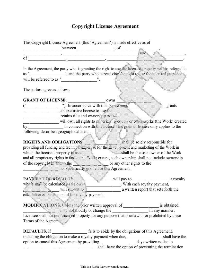 Sample Copyright License Agreement Form Template