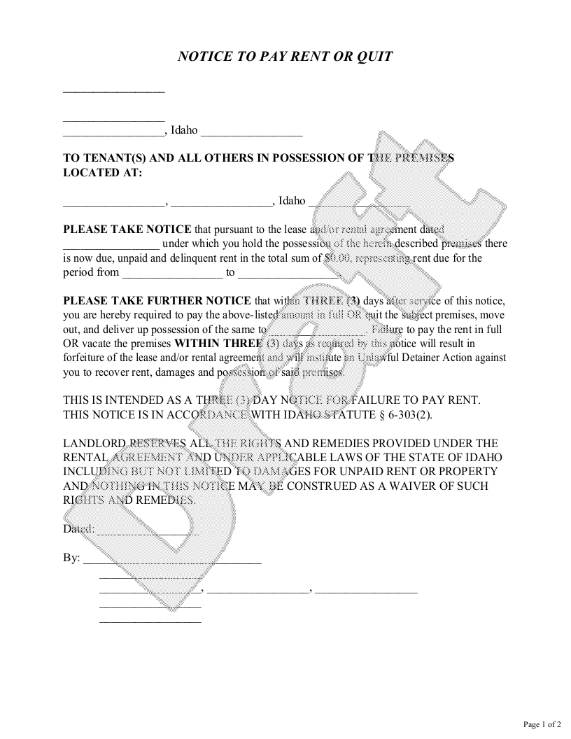 Sample Idaho Eviction Notice Form Template