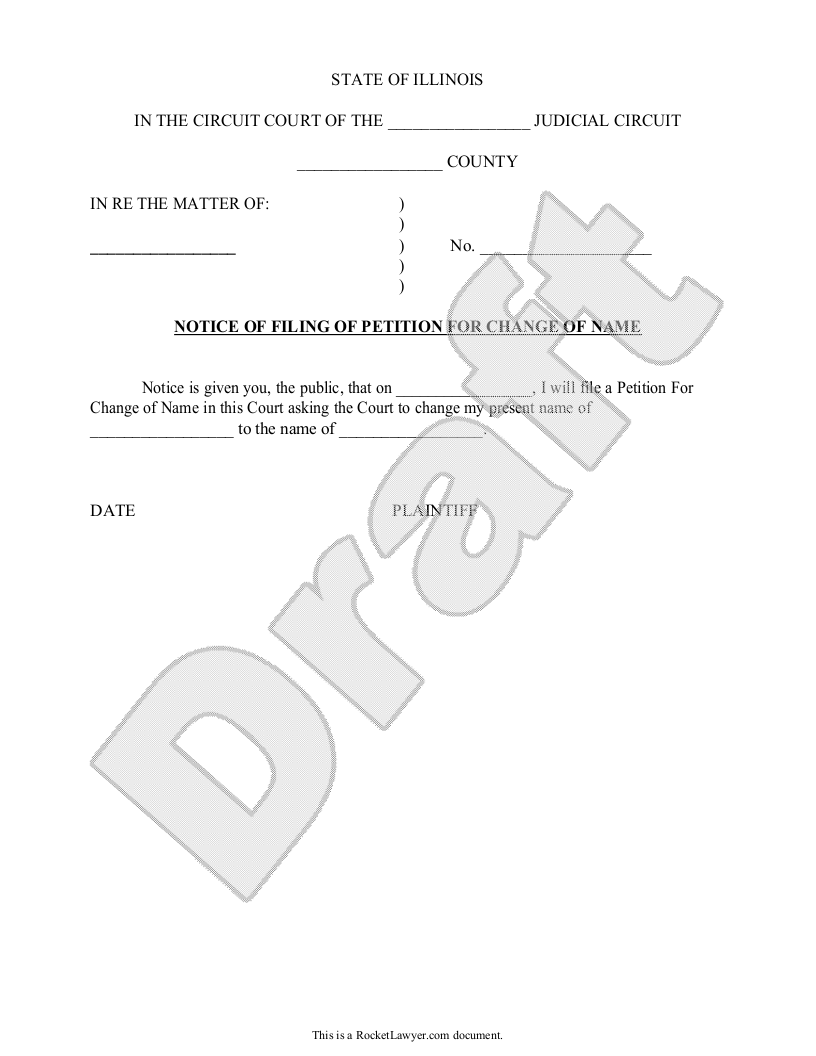 Sample Illinois Name Change Petition and Order Form Template