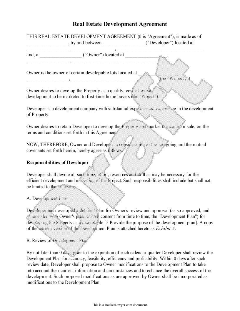 Sample Real Estate Development Agreement Form Template