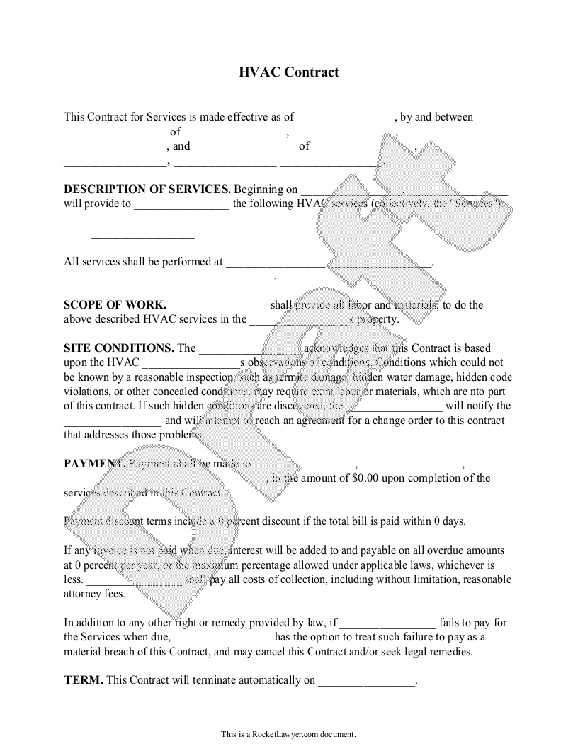 Sample HVAC Contract Form