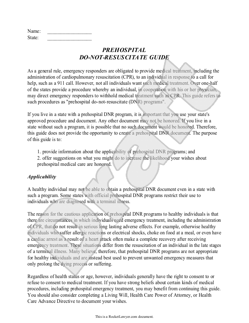 Sample Do-Not-Resuscitate Guide Form Template