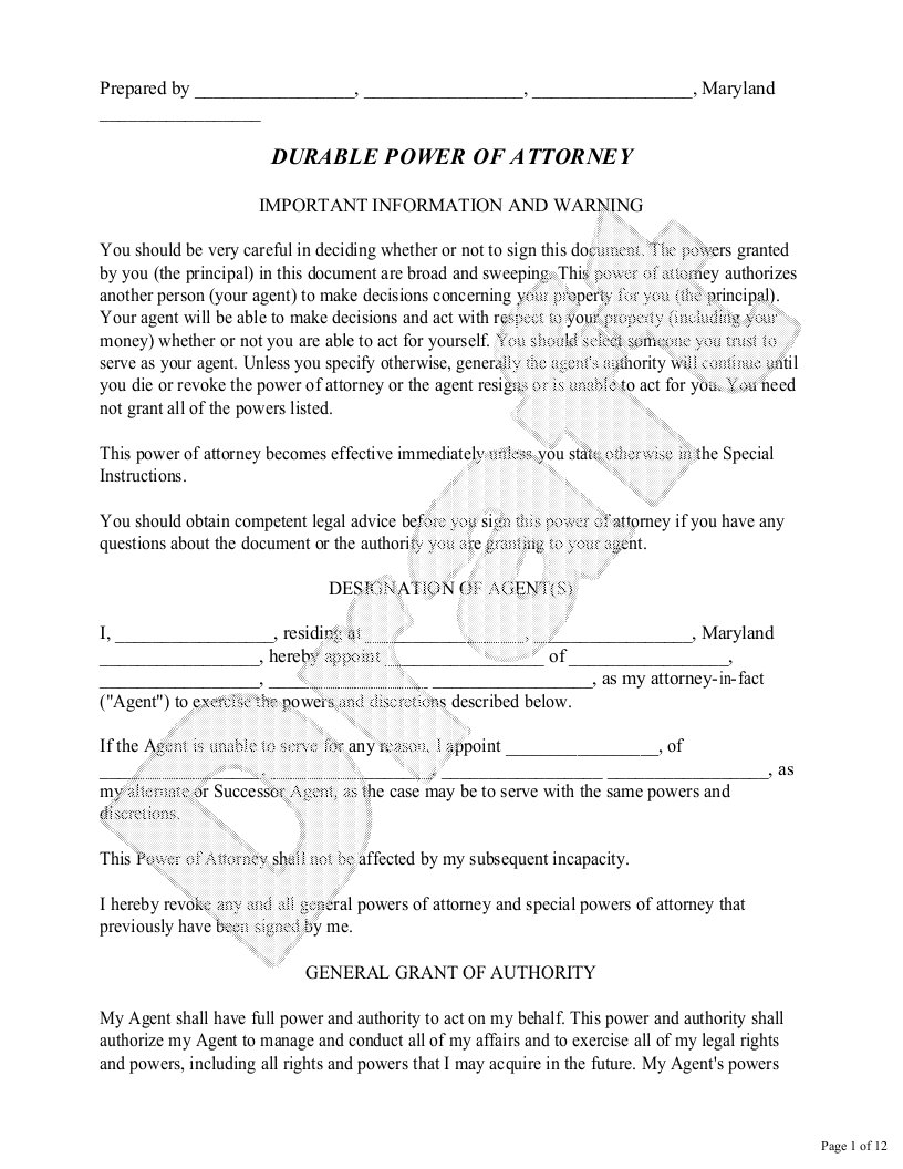 Sample Maryland Power of Attorney Form Template