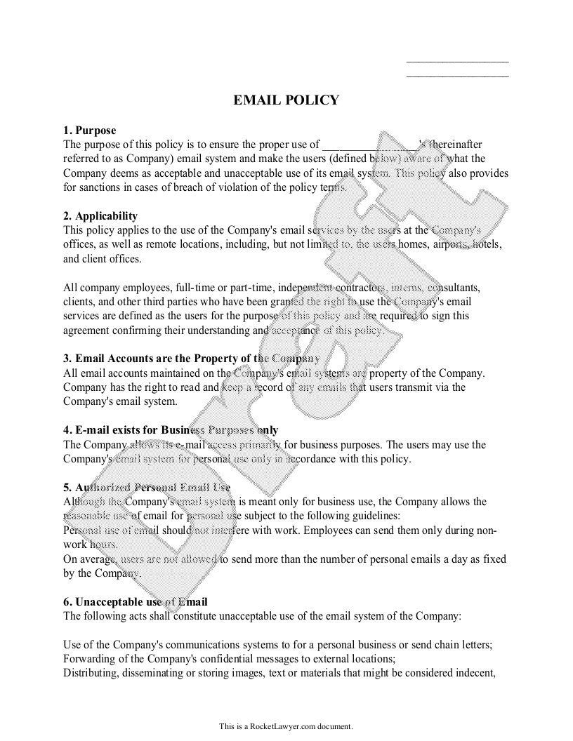 Sample Email Policy Form Template