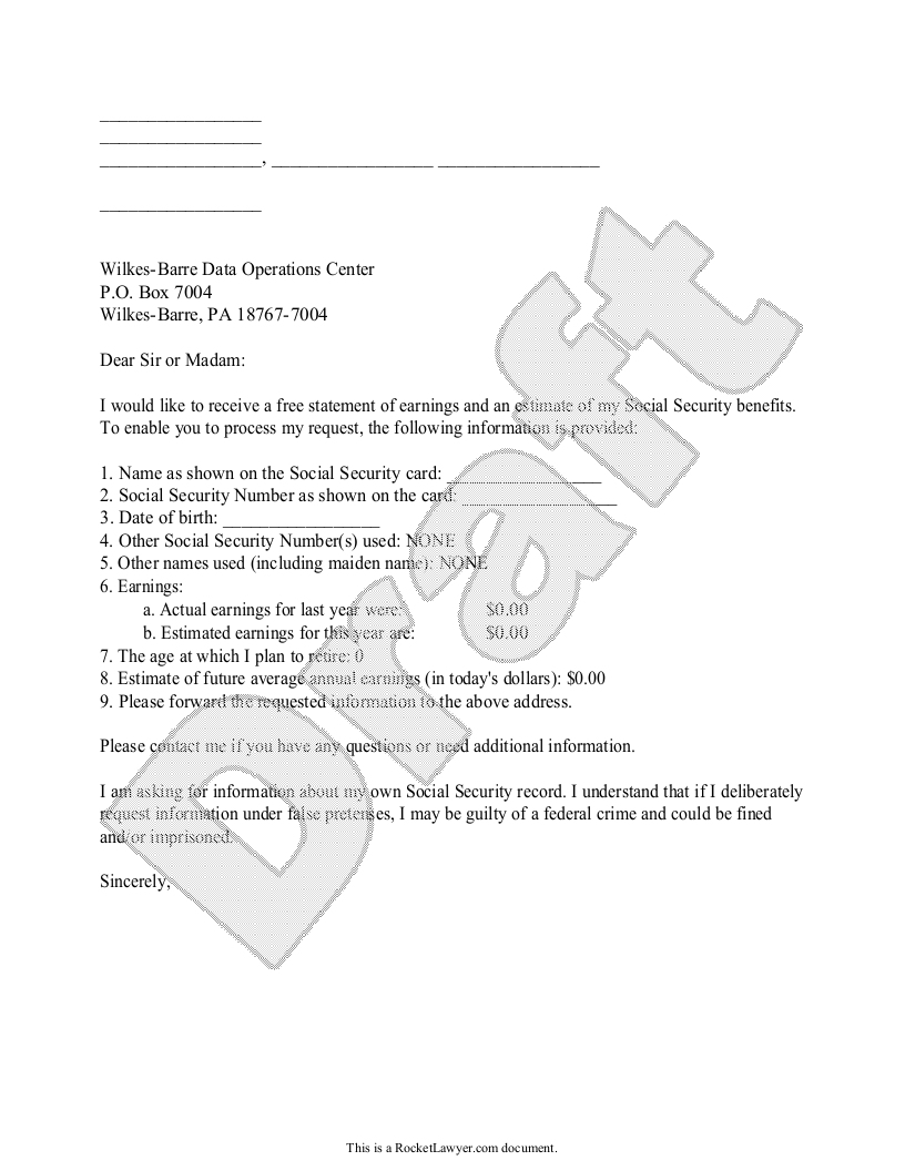 Sample Social Security Benefits Letter Form Template