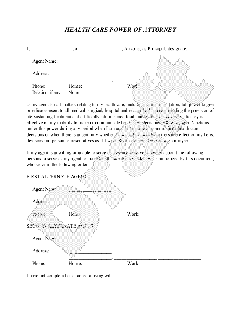Sample Arizona Healthcare Power of Attorney Form Template