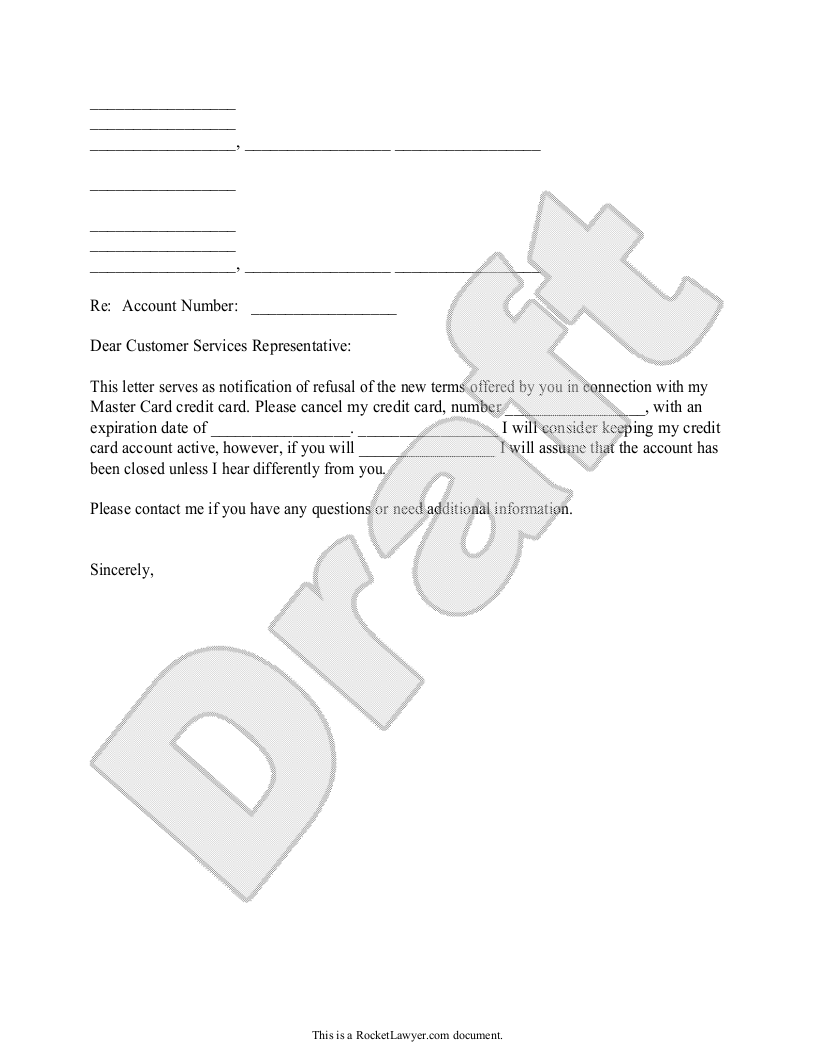 Sample Letter to Cancel a Credit Card because of Poor Terms Form Template