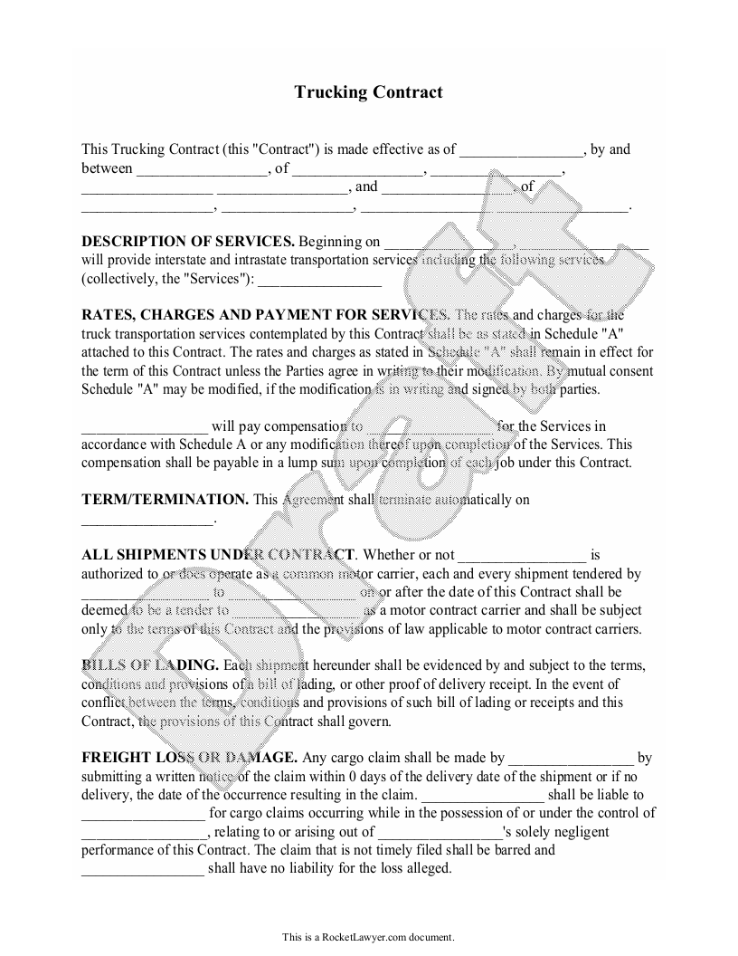 Sample Trucking Contract Form Template