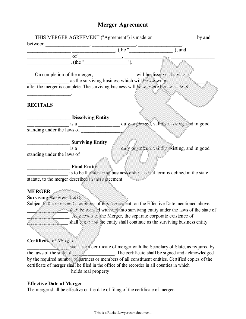 Sample Merger Agreement Form Template