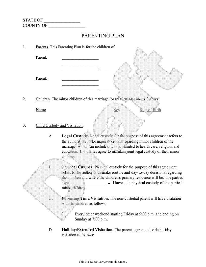 Sample Parenting Plan Form