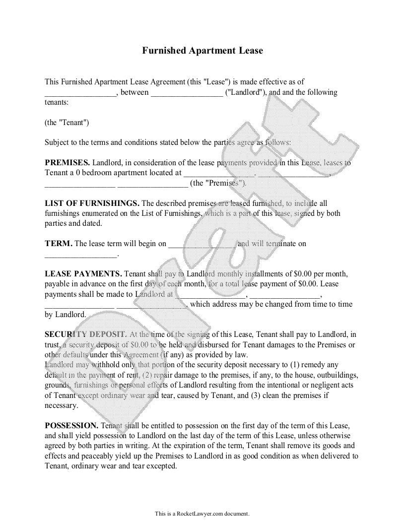Sample Furnished Apartment Lease Form Template