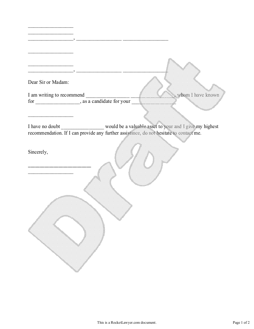 Sample Recommendation Letter Form Template